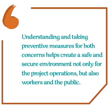"Pull quote saying ""Understanding and taking preventive measures that address both concerns helps create a safe and secure environment not only for the project operations, but also workers and the public."""